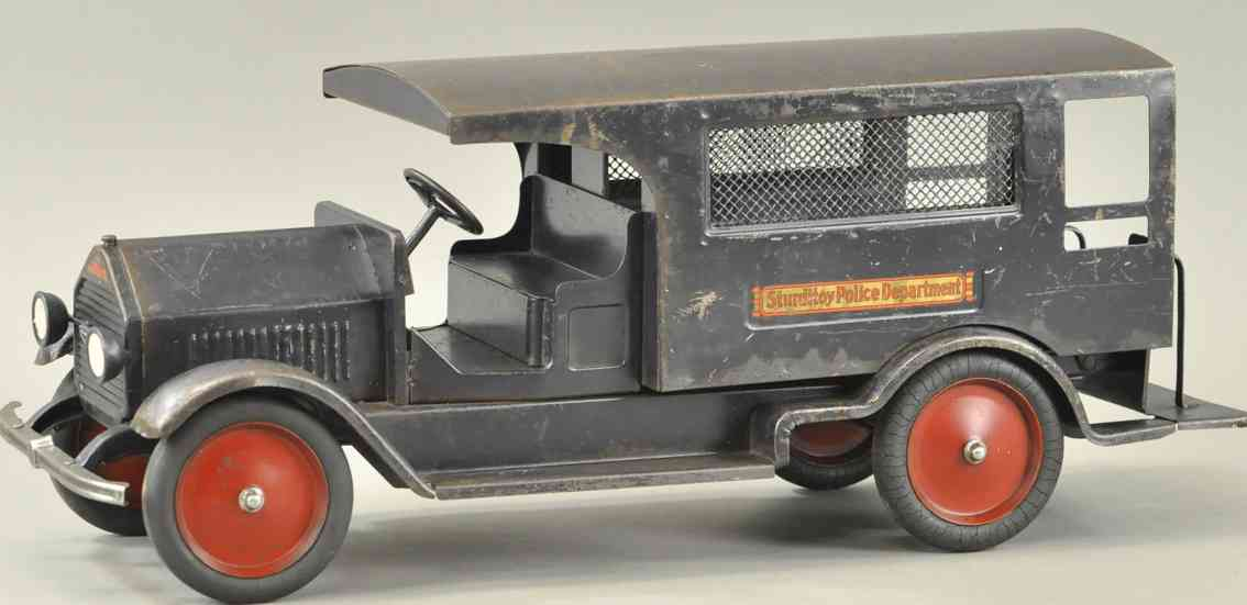 sturditoy stahlblech spielzeug polizeitauto schwarz