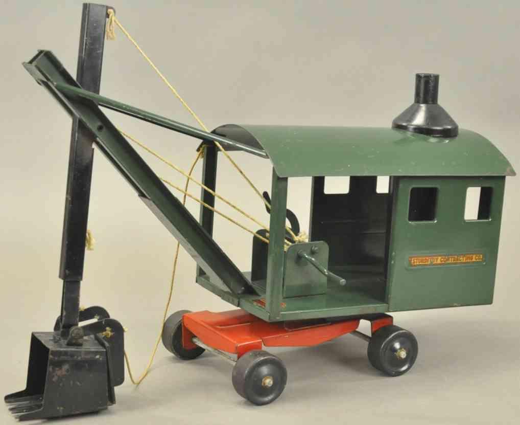 sturditoy stahlblech spielzeug schaufelbagger gruen schwarze schaufe ausleger