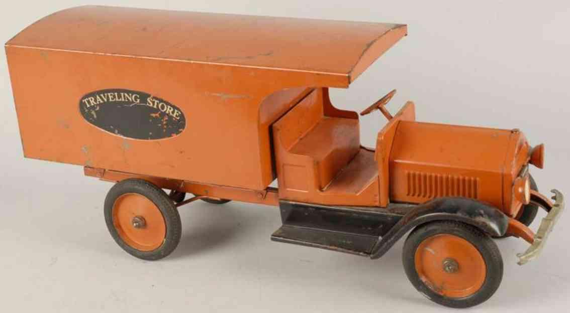 sturditoy stahlblech spielzeug reiseshop-lastwagen orange