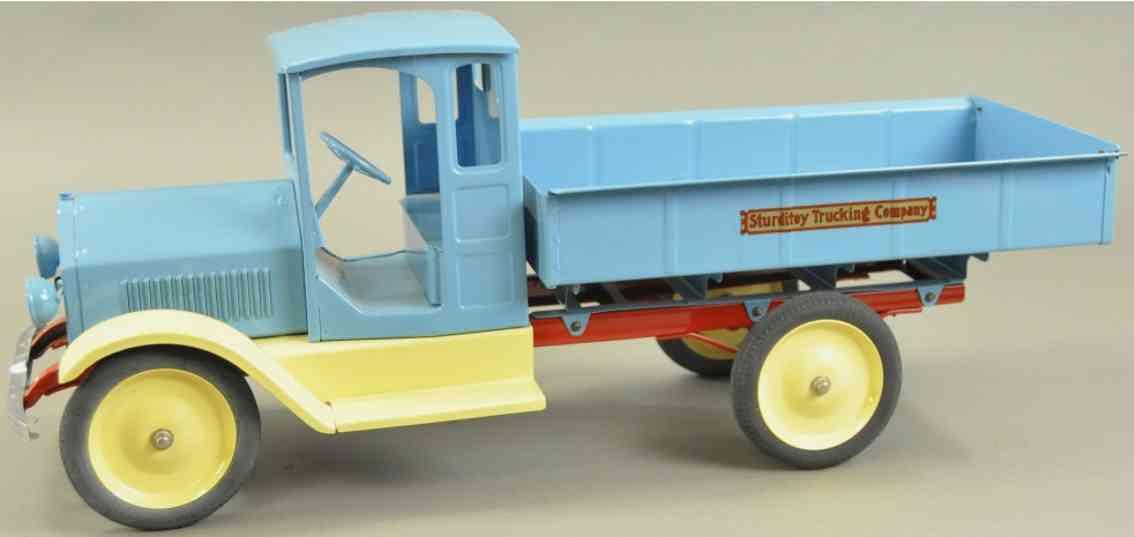 sturditoy stahlblech spielzeug lastwagen blau creme