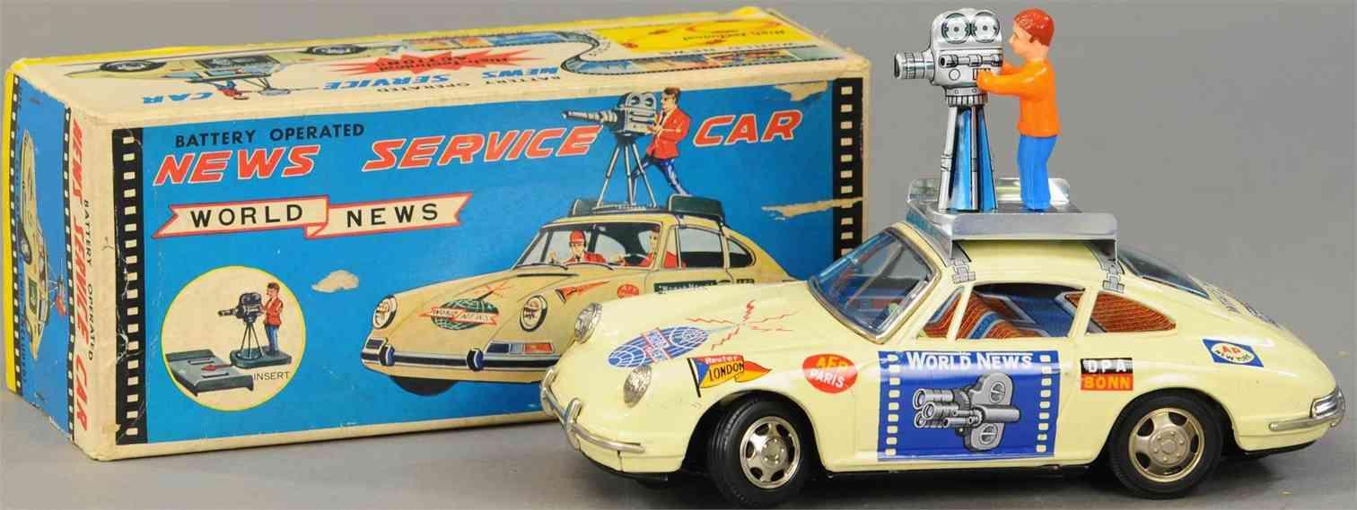 tps tin toy porsche news service car fun battery-operated