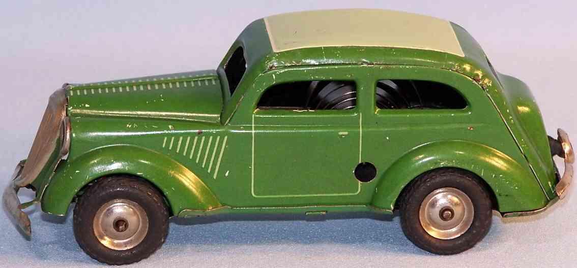 technofix blech spielzeug auto opel kadett mit uhrwerk, lithografiert in grün, hellgrün und