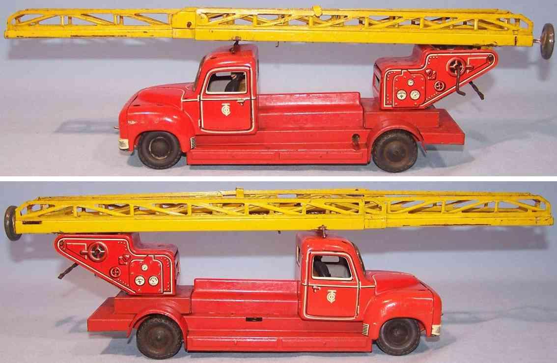 tippco tco-020 blech spielzeug feuerwehrleiterwagen rot