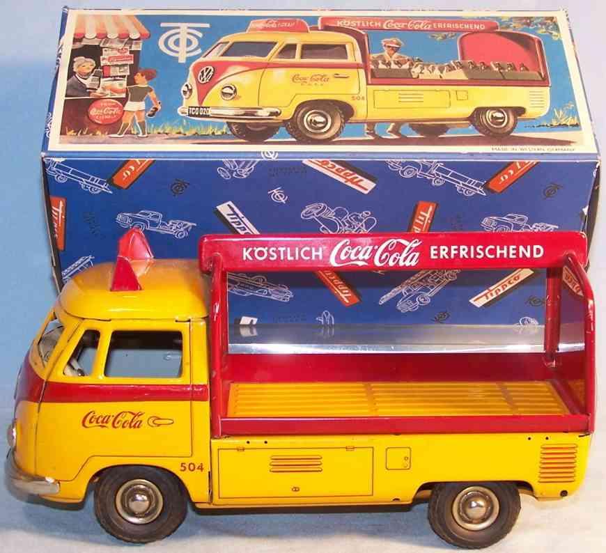 tippco 020 blech spielzeug coca-cola bus t1 mit schwungrad gelb rot