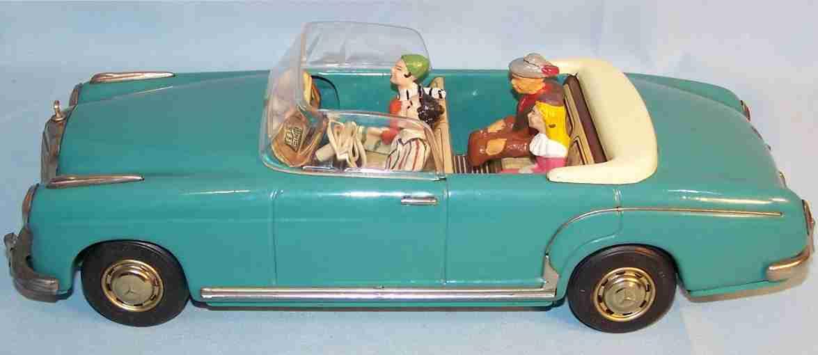 tippco 112 blech spielzeug auto mercedes cabrio 220 s mit schwungrad, blau mit beigem innenl
