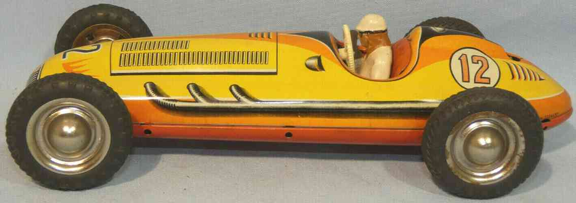 tippco 12 tin toy race racing car with driver figure and clockwork