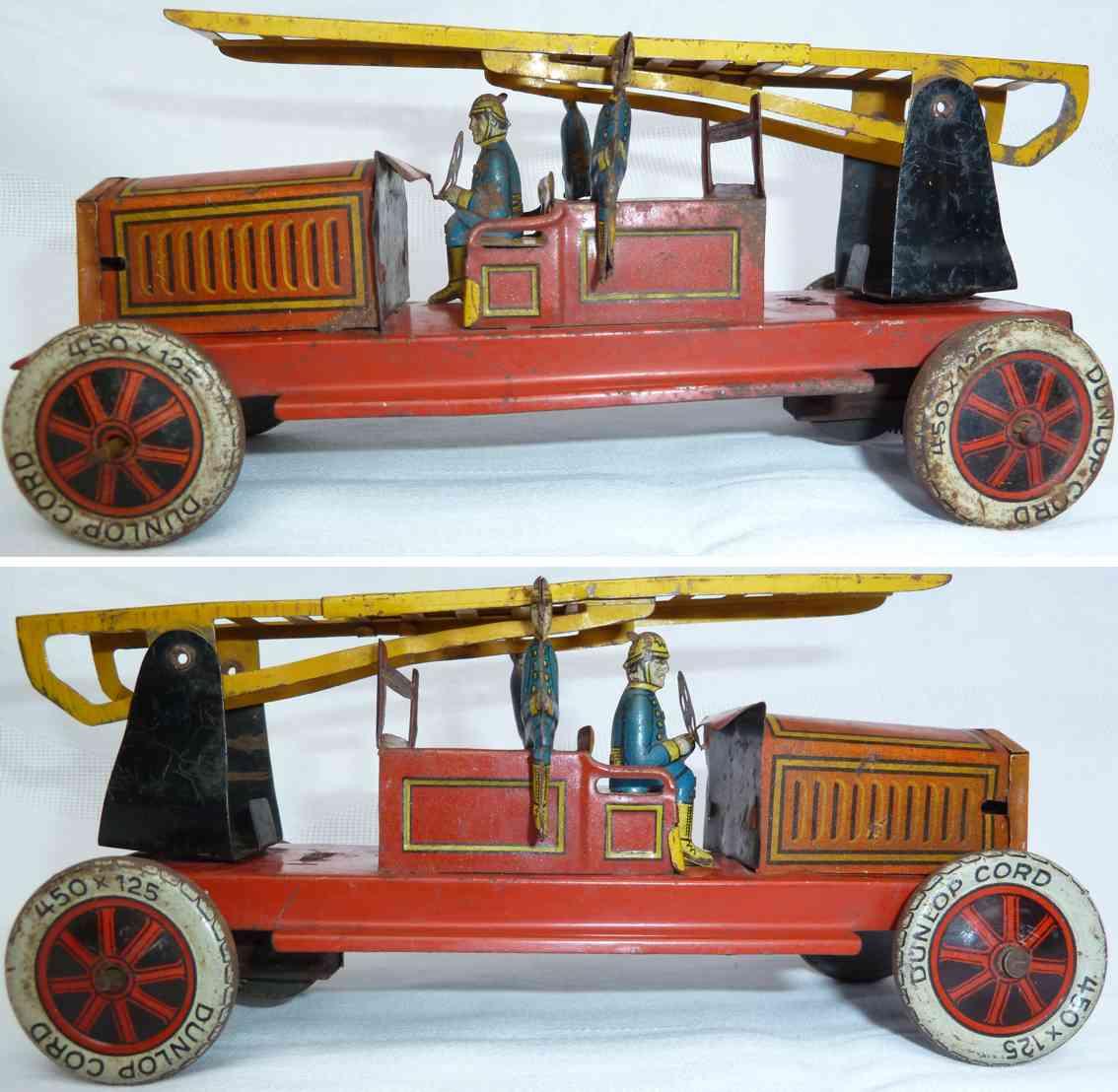 tippco 1516 blech spielzeug feuerwehr leiterwagen rot gelb