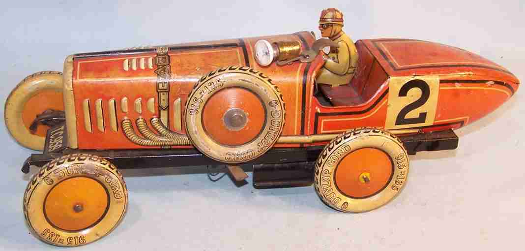 tippco 959 tin toy race car racing car orange