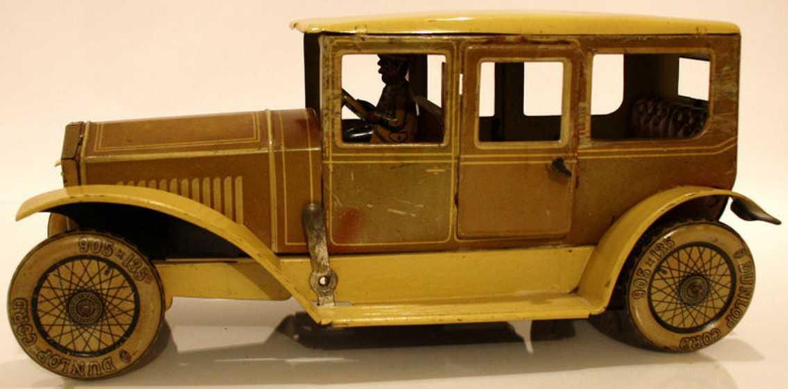 tippco 22730 blech spielzeug auto elektrische limousine mit fahrerfigur braun beige