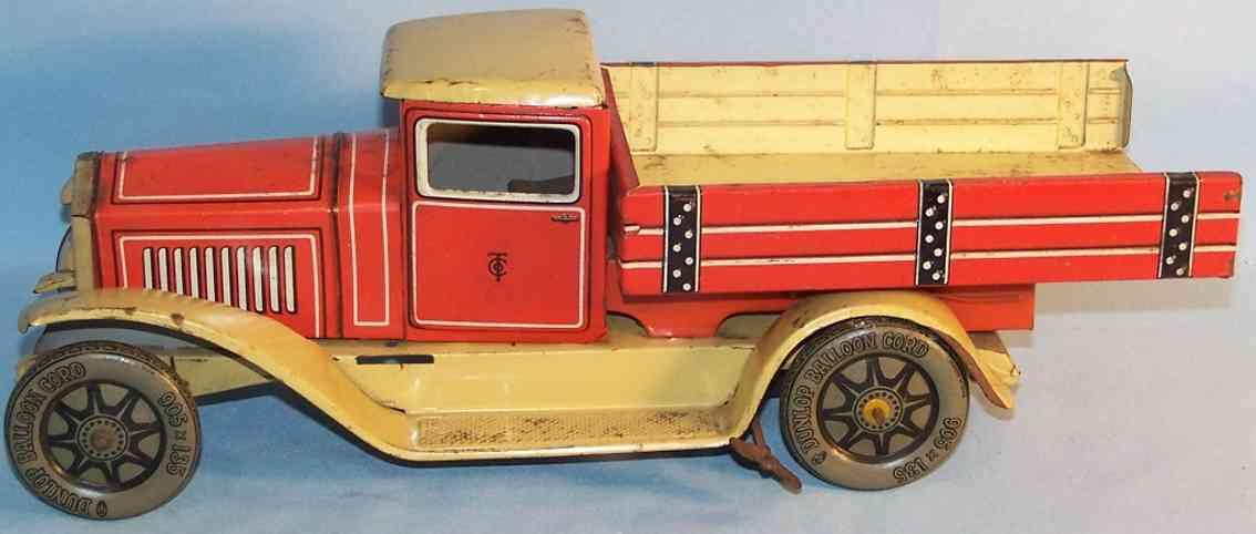 tippco 22730 blech spielzeug lastwagen uhrwerk beige rot