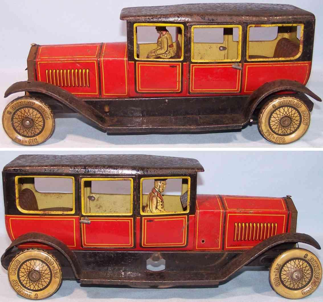 tippco 22734 blech spielzeug auto rolls-royce limousine  rot fahrer