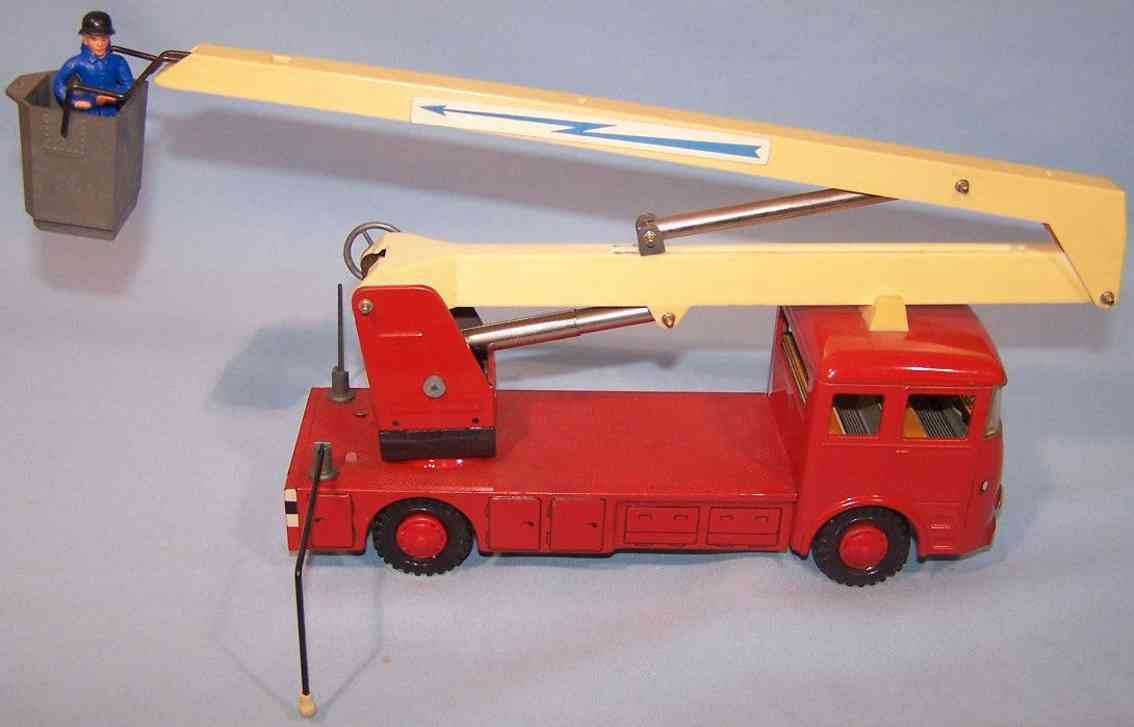 tippco tc 418 blech spielzeug feuerwehr-kranwagen rot