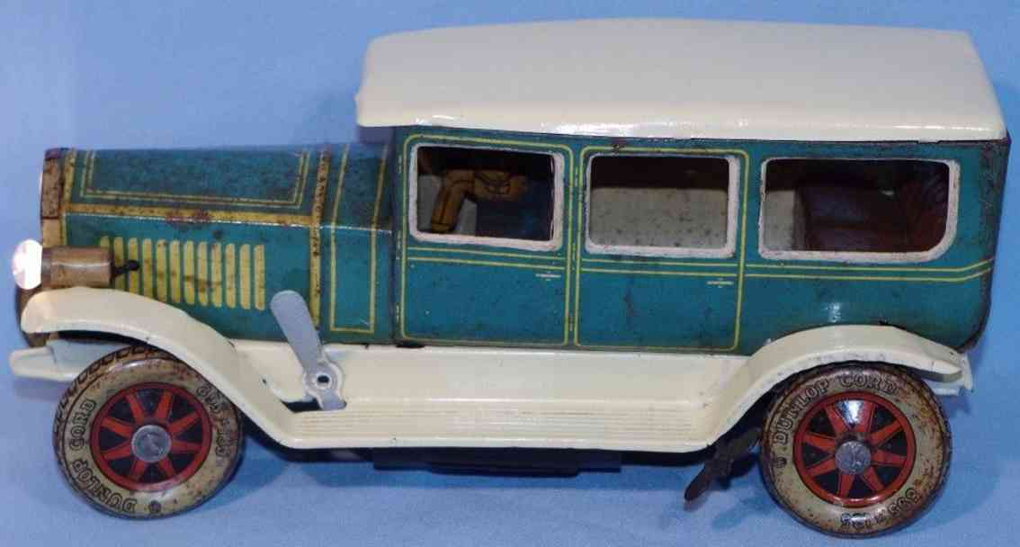 tippco 4343 tin toy car travel limousine green beige drive