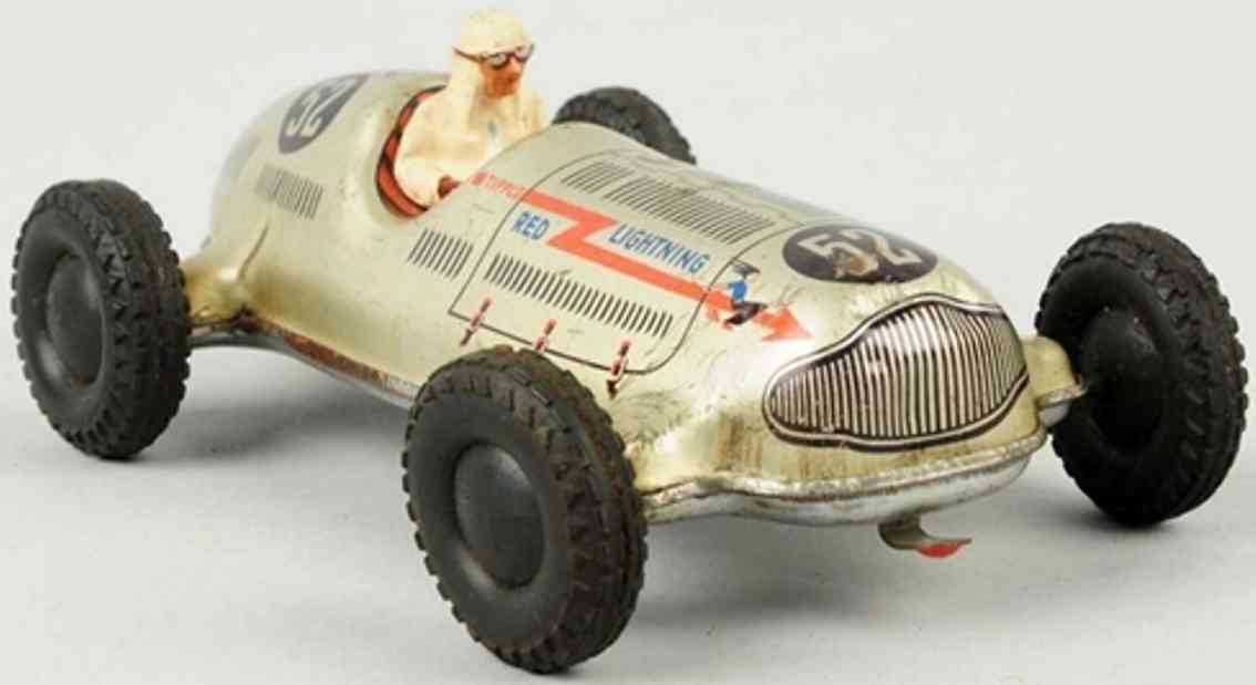 tippco tin toy race car wind-up race car 52 sliver red lightning