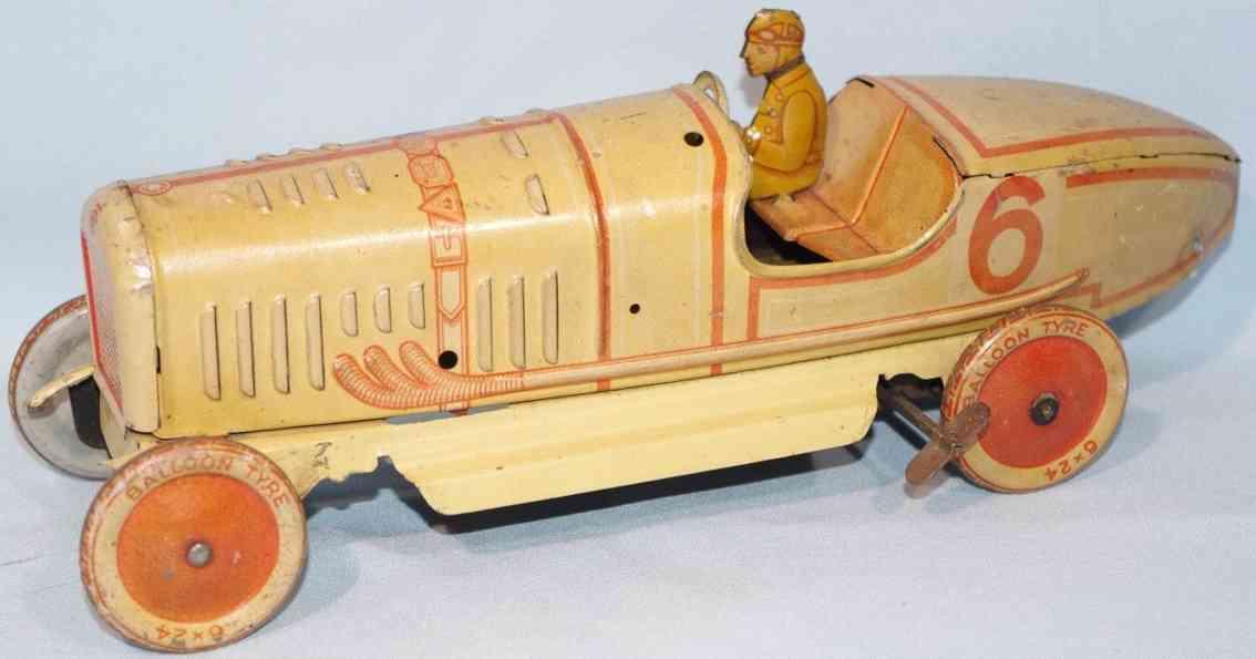 tippco 6 blech spielzeug rennauto rennwagen beige rot