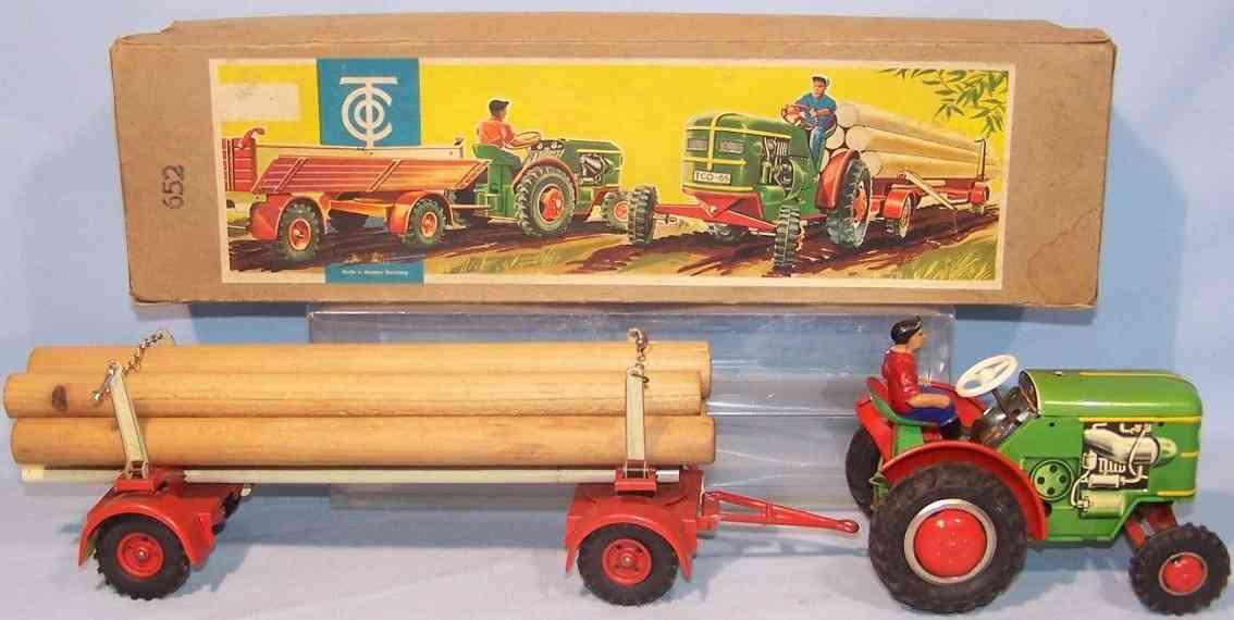 tippco 652 blech spielzeug traktor holzanhaenger ladung