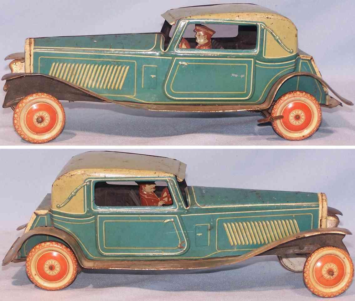 tippco 73577 tin toy car coupe clockwork blue green