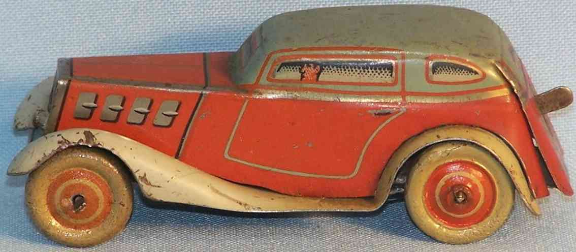 tippco 751 tin toy car limousine tc-751 in red, brown and turquoise, with start and