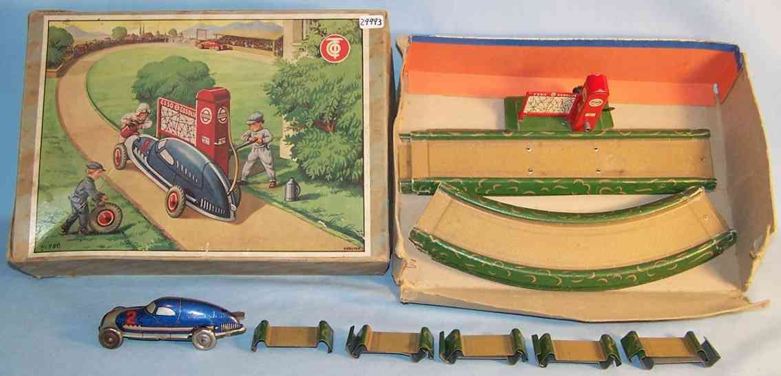 tippco 780 tin toy highway racetrack set with clockwork gas station