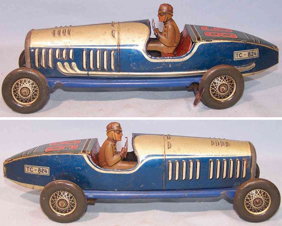 tippco 824 tin toy race car with clockwork silver blue