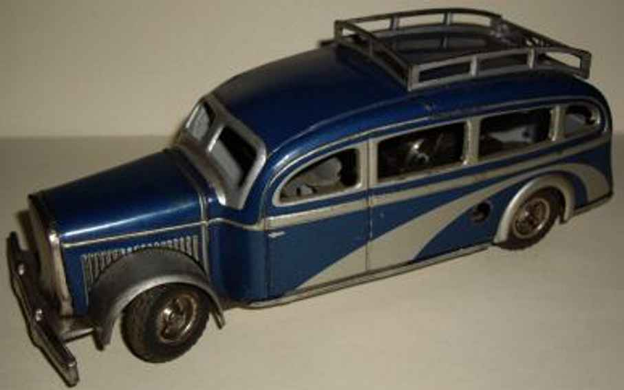 tippco 901 tin toy bus autobus blue silver