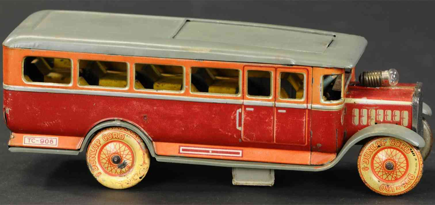 tippco 906b blech spielzeug autobus omnibus rot gold grau federuhrwerk