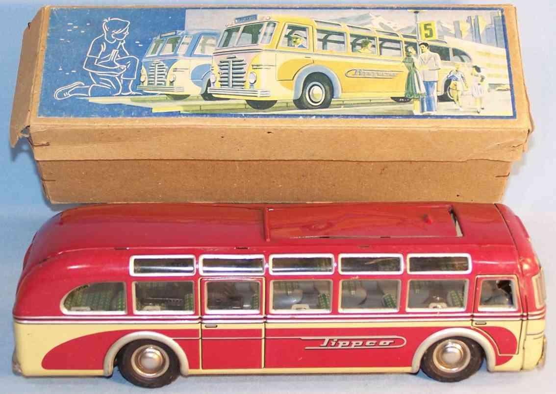 tippco 913 tin toy bus omnibus clockwork deluxe