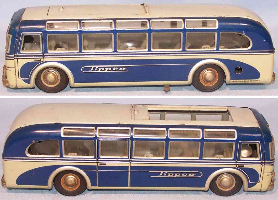 tippco 916 tin toy omnibus luxury clockwork sunroof