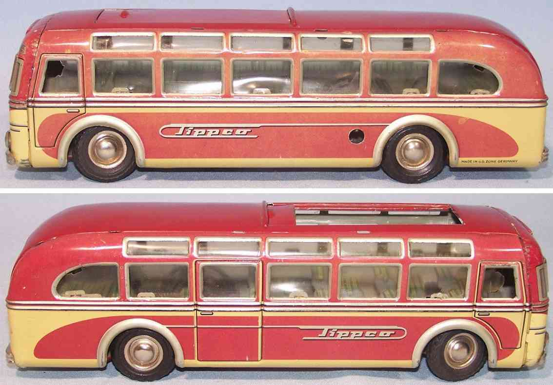 tippco 916 tin toy bus setra coach red beige silver clockwork