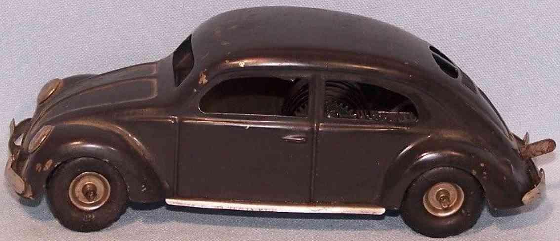 tippco 924 tin toy car pretzel beetle gray-black silver clockwork