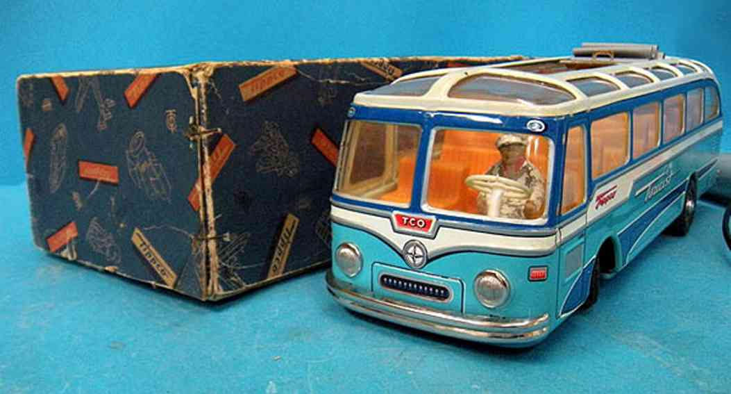 tippco 930/2 tin toy tourist bus blue friction drive