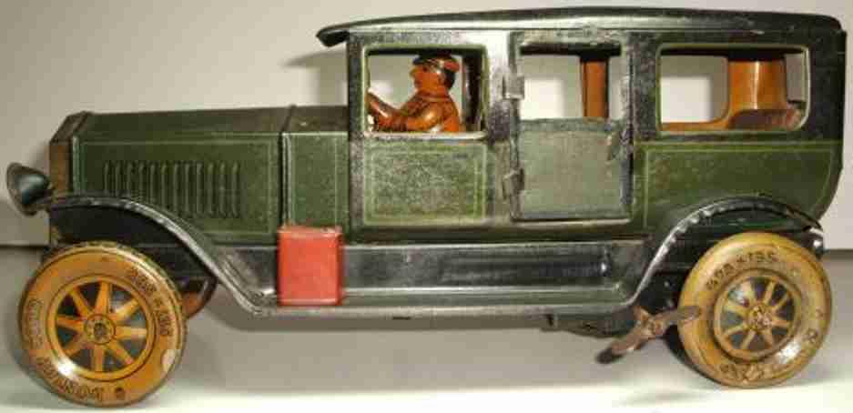 tippco 951 tin toy car limousine clockwork driver dark green