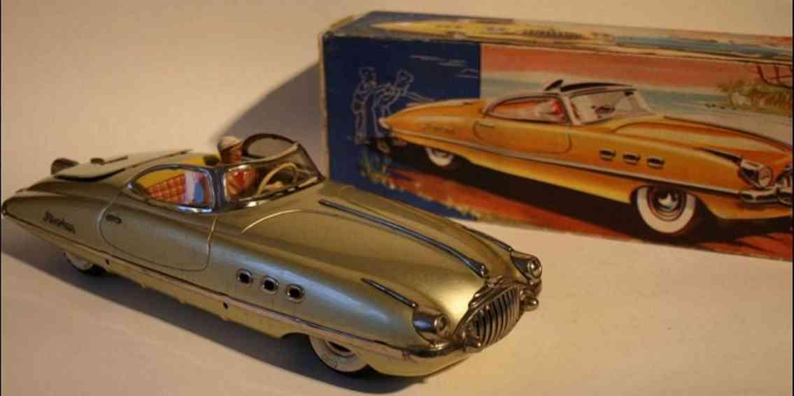 tippco 960 tin toy car phantom electro drive gold metallic