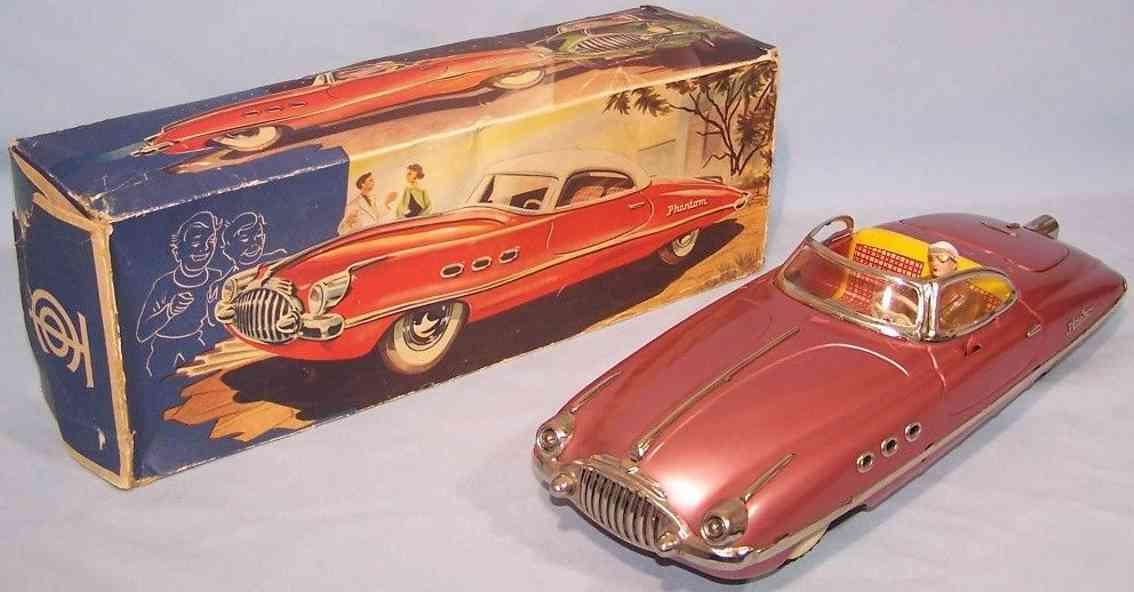 tippco 961/7 tin toy car phantom cabriolet pink metallic clockwork tco 960