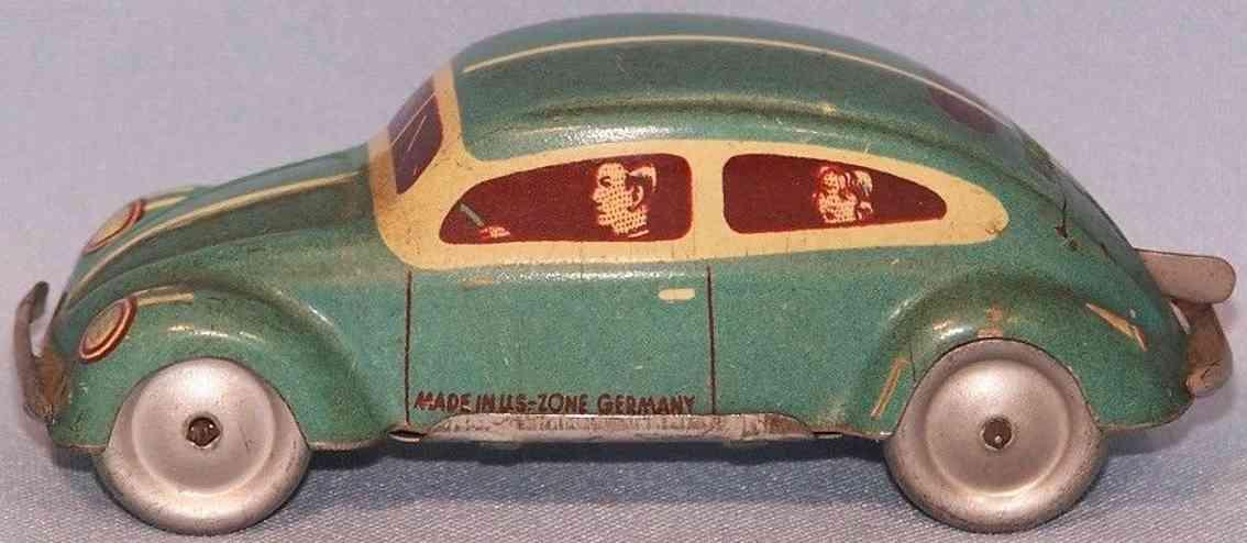 tippco blech spielzeug auto brezel-kaefer gruen silber uhrwerk