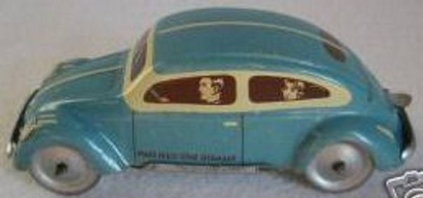 tippco 755 tin toy car small k.d.f. car lithographed with clockwork for empire moto