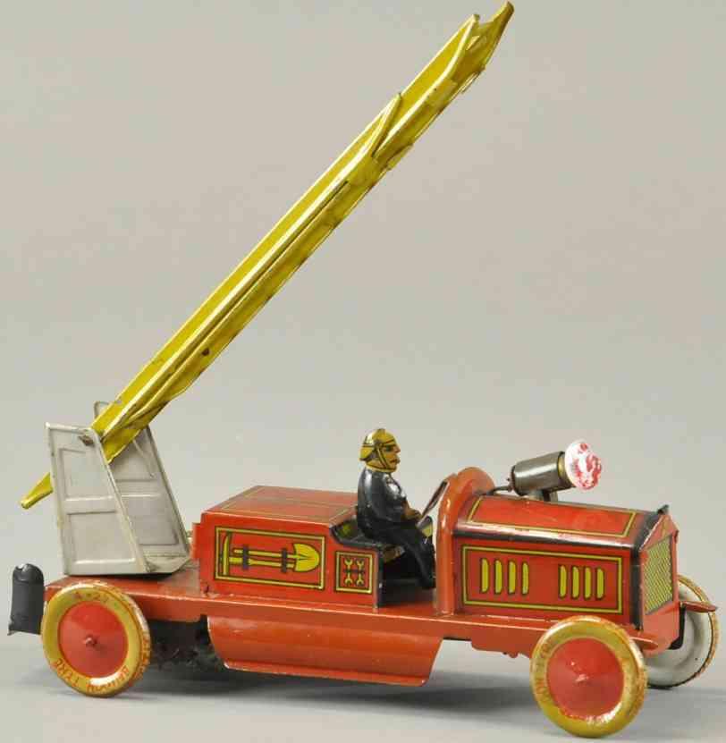 tippco Leiterwagen 18 blech spielzeug feuerwehr feuerwehrleiterwagen, aus lithografiertem blech, offenes unt