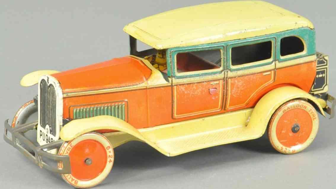 tippco blech spielzeug auto limousine gelb orange fahrer