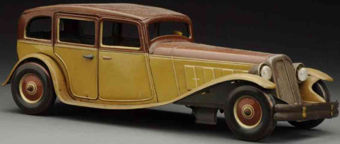 tippco tin toy car limousine brown driver