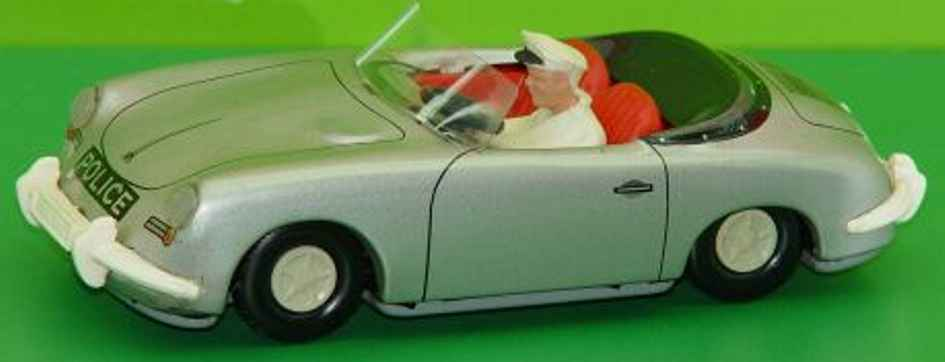 tippco blech spielzeug auto polizei-porsche 356c cabrio kunststoff