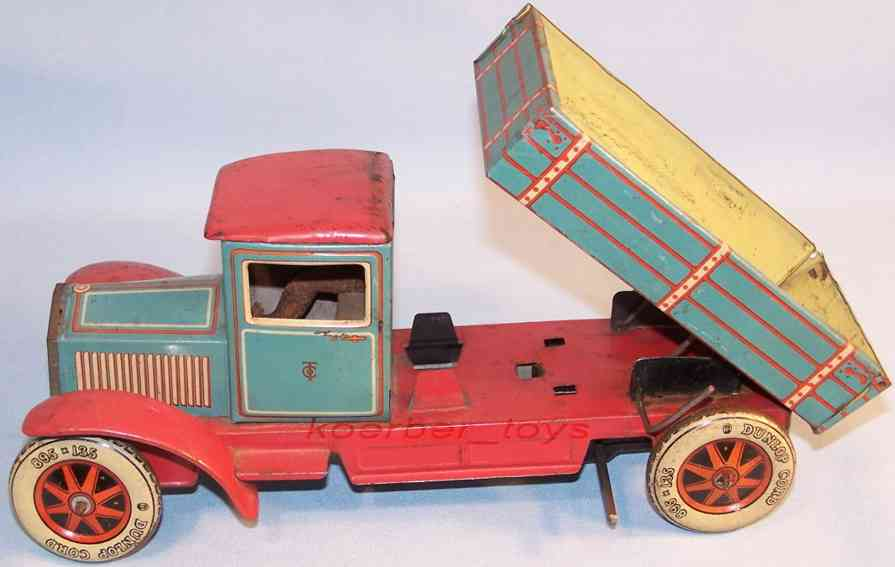 tippco blech spielzeug lastwagen kippbare pritsche fahrer uhrwerk