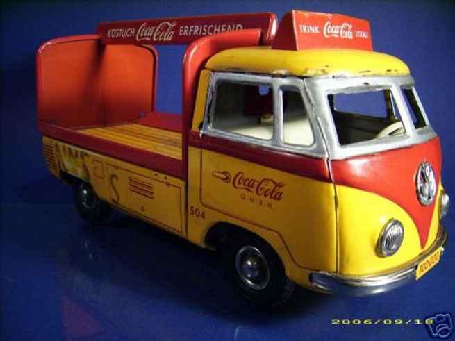 tippco 504 blech spielzeug vw-coca-cola bus mit schwungradantrieb