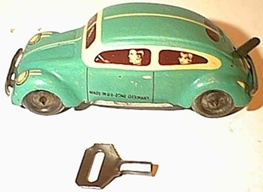 tippco 755 tin toy car small volkswagen lithographed with clockwork mechanism, mark