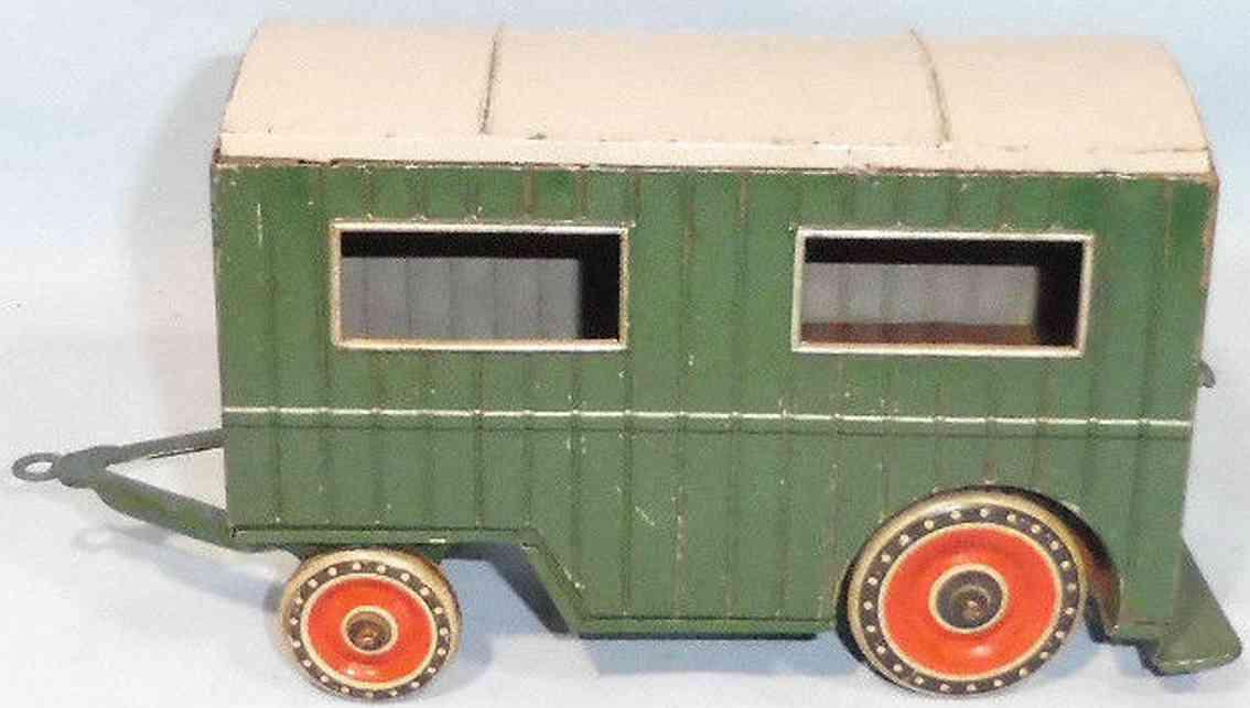 tippco blech spielzeug auto bauwagen wohnwagen gruen