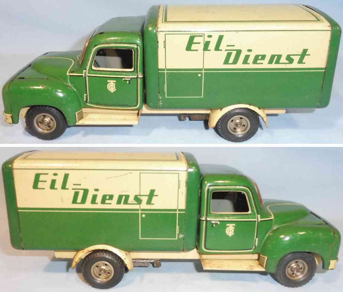 tippco tin toy bussing truck green eil-dienst