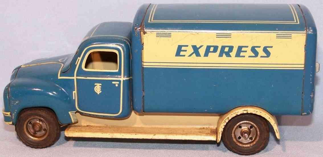 tippco blech spielzeug hanomag express lastwagen blau gelb schwungradantrieb