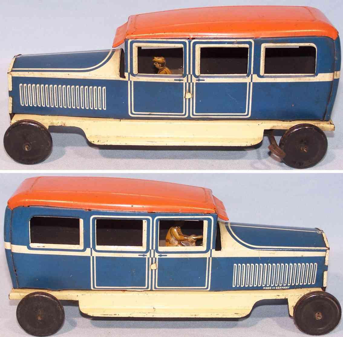 tippco iin-1906 blech spielzeug auto limousine uhrwerk blau