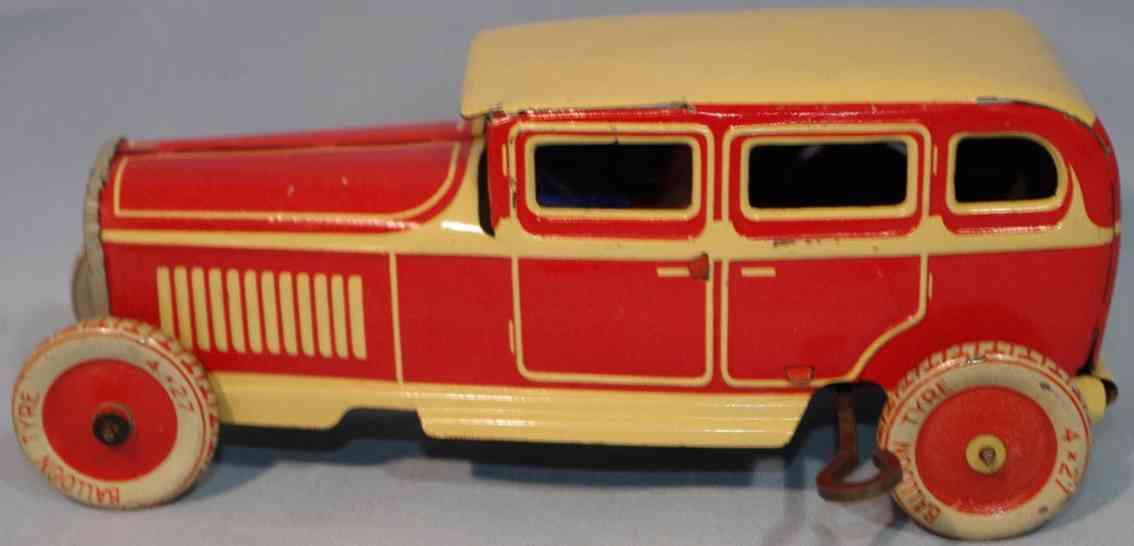 tippco blech spielzeug auto kleine limousine rot gelb