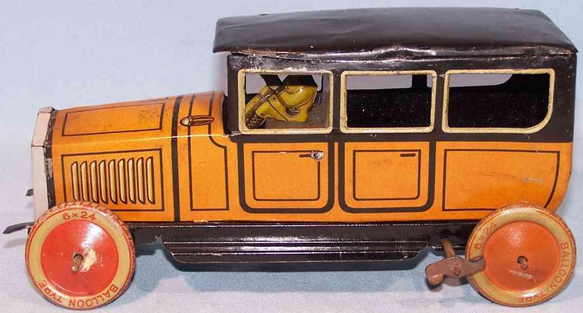 tippco blech spielzeug auto limousine uhrwerk fahrer orange