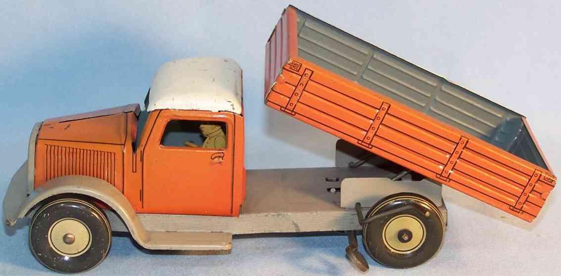 tippco blech spielzeug kipp-lastwagen uhrwerk braun